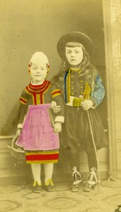 France Children Boy & Girl Regional Costume old Maignan colored CDV 1870