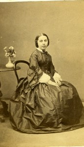 France Nantes French Fashion Young Woman Nice Dress old Wolter CDV Photo 1860