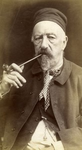 Old man Smoking pipe, Belgium, old albumen Photo 1880