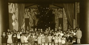 France Children's school group Theatre Décor Stage old Photo 1930'