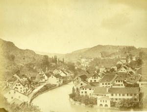 Baden, general view, Switzerland, old Photo 1867