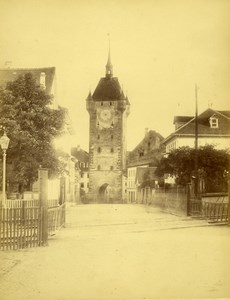 Baden, Clock Tower Switzerland, old Photo 1867