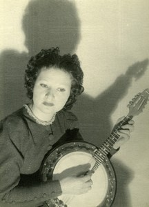 Young Lady Banjo Player France old Photo Knecht 1930