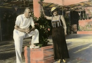 France Couple Portrait on Holiday? Old hand colored Peter Photo 1940
