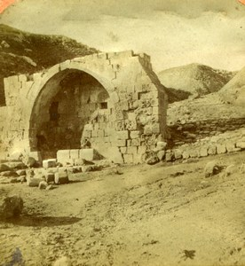 Palestine Jericho Apostles Fountain Old Tissue Stereoview Photo 1870