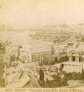 Panorama, Genova Italy old Brogi Stereoview Photo 1870'