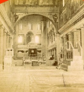 Church interior Rome , Italy old Stereoview Photo 1870'