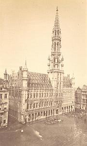 Brussels, City Hall Market Belgium, Albumen Photo 1880'