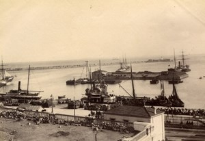 Algeria Algiers Harbor Boats animated Panorama Alger old Photo 1880'