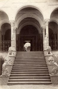 Tunisia Tunis Bardo Palace Lions Staircase & Arcades old Photo 1880'