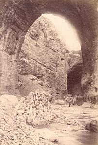Cliff Constantine, Algeria, old Albumen Photo 1880'