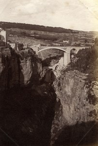 Algeria Constantine Panorama Bridge & Cliffs old Albumen Photo 1880'