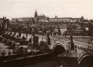 Praha Prague Bridge, general view, old Photo 1880'