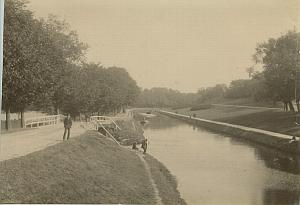 Men Fishing in Canal Netherlands old Albumen Photo 1890