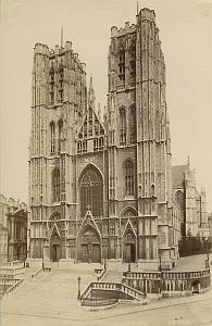 Bruxelles Eglise Ste Gudule Church Albumen Photo 1890