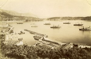 Villefranche sur Mer Harbour boat France old Photo 1880