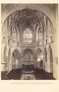 Tewkesbury Abbey Interior UK, old CDV Photo 1860'