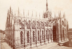 Milano Duomo panorama Italy old CDV Photo 1860'
