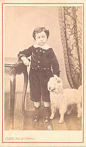 Boy & Toy Sheep French Fashion old CDV Photo 1860'