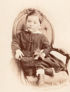 Boy seated with Toy French Fashion old CDV Photo 1860'