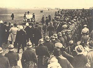 Lindbergh Evere Airfield & Crowd Belgium old Photo 1927