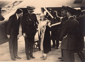 Lindbergh w/ Belgian King and Queen old Photo 1927