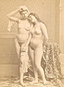 Risque Nude Girl Artist Study France old Photo CC 1880