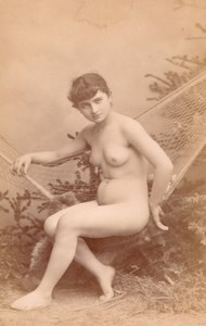 Risque Nude Girl Artist Study France old Canellas Cabinet Card Photo CC 1880