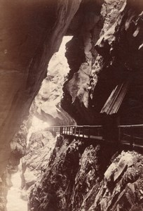 Narrow pass Pfäfers Switzerland old Photo 1880'