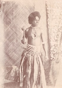 Solomon Islands Warrior Oceania old Photo 1890