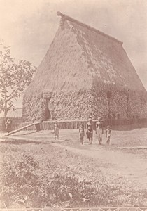 Solomon Islands Common House Hut Village old Photo 1890