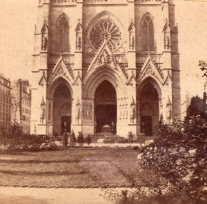 Anonymous Church in Paris France Old Stereo Photo 1860