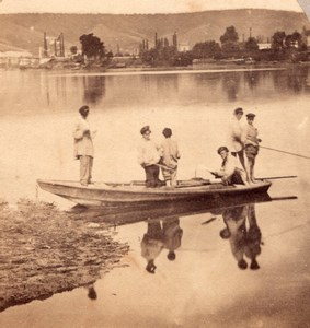 Fishermen Boat Lake Switzerland Old Stereo Photo 1860