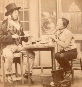 Allegory Poor & Rich Lunch France Old Stereo Photo 1865