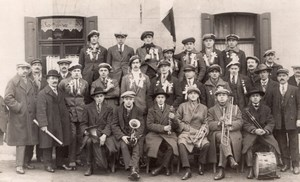 Municipal Brass Band Denain real Photo Postcard 1935'