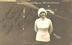 Herveux Jane Bleriot School old Signed Photo 1911