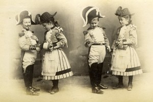 Kids in Fancy dress ball Photomontage Meudon Photo 1900