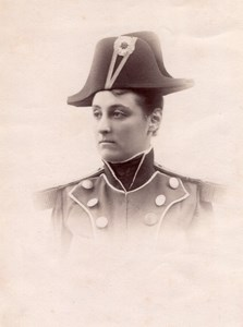Woman in Military Costume Hat Meudon old Photo 1900'