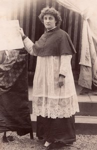 Woman Priest Costume Stage Meudon old Photo 1900