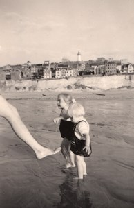 France two children & foot on the Beach old Photo 1940