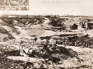 Russian Howitzers Quarry Military aerial Photo WWI