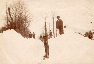 France, Felletin Winter Snow Road Workers Photo 1891
