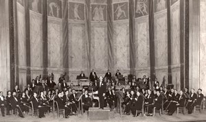France Orchestra & Conductor on Stage old Photo 1920
