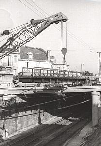 Talence Pont Couderes footbrige Crane old Photo 1969