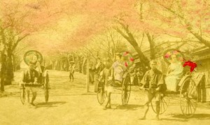 Japan life scene Rickshaw old hand-colored Cabinet Card Photo 1890'