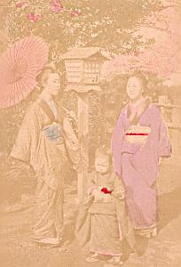 Japan typical scenery old hand-colored Cabinet Card Photo CC 1890'