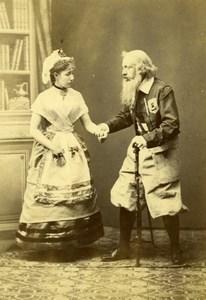 Italy Roma Actors couple Theatre old Alessandri Cabinet Card Photo CC 1870'