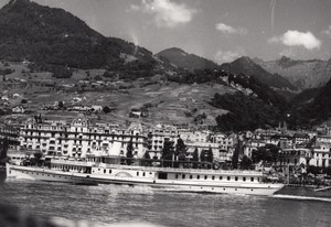 Geneve Lake Steamer panorama old Photo 1950'