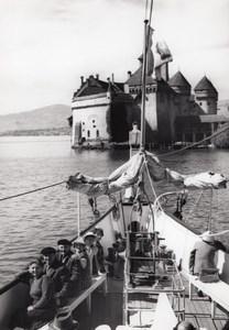 Switzerland Geneva Lake Tourist Boat old Photo 1950'