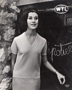 French Woman Fashion Model Wyl Paris old Photo 1960
